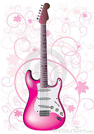Pink Electric Guitar Illustration Royalty Free Stock Photo.