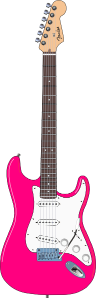 Free Pink Guitar Clipart Image.