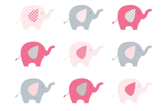 Gray and pink elephant clipart.