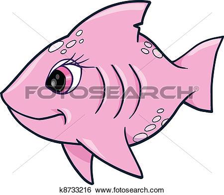 Clipart of Pink Girl Fish Ocean Vector k8566743.