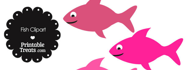 Fish Clipart in Shades of Pink — Printable Treats.com.