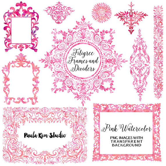 Pink Watercolor Floral Border Clipart, Wedding Flowers Clip Art.