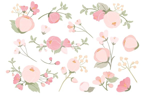 Soft Pink Flower Clipart & Vectors.