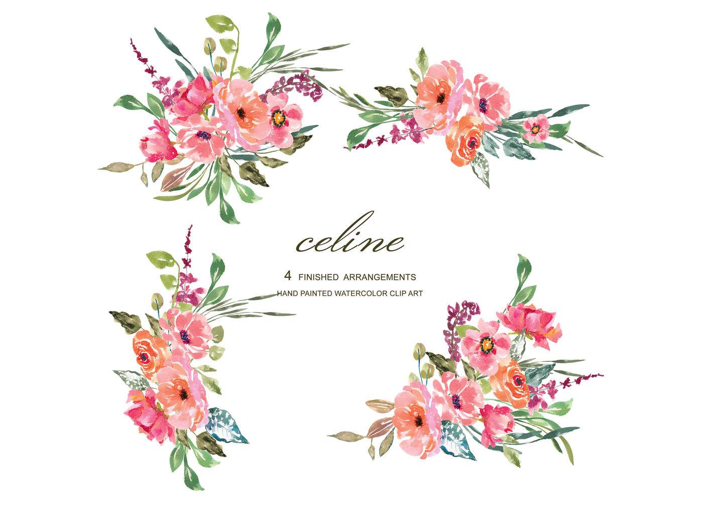 Watercolor Rustic Flower Clipart Pink & Red Florals By.