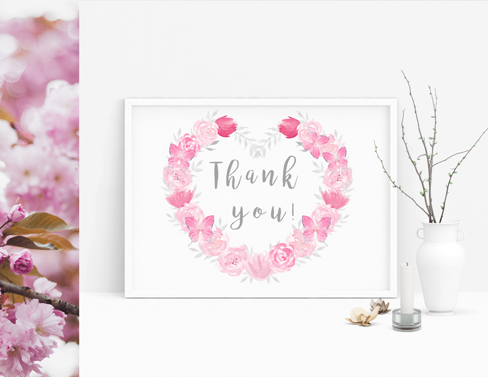 Watercolor Pink Floral Wreath.