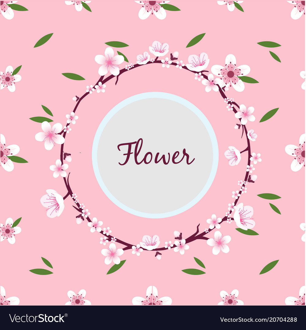 Flower sakura ring circle frame pink background ve.