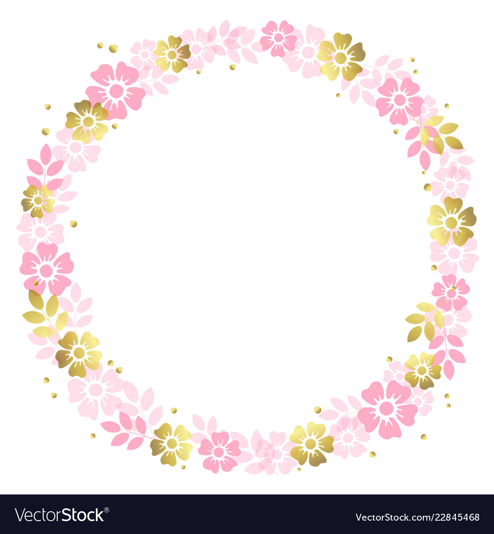 Circle frame of pink and golden flowers.