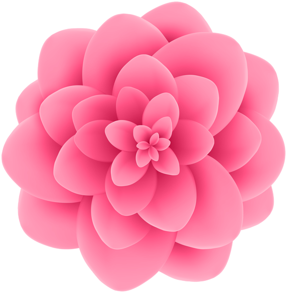 Deco Pink Flower Transparent Clip Art Image.