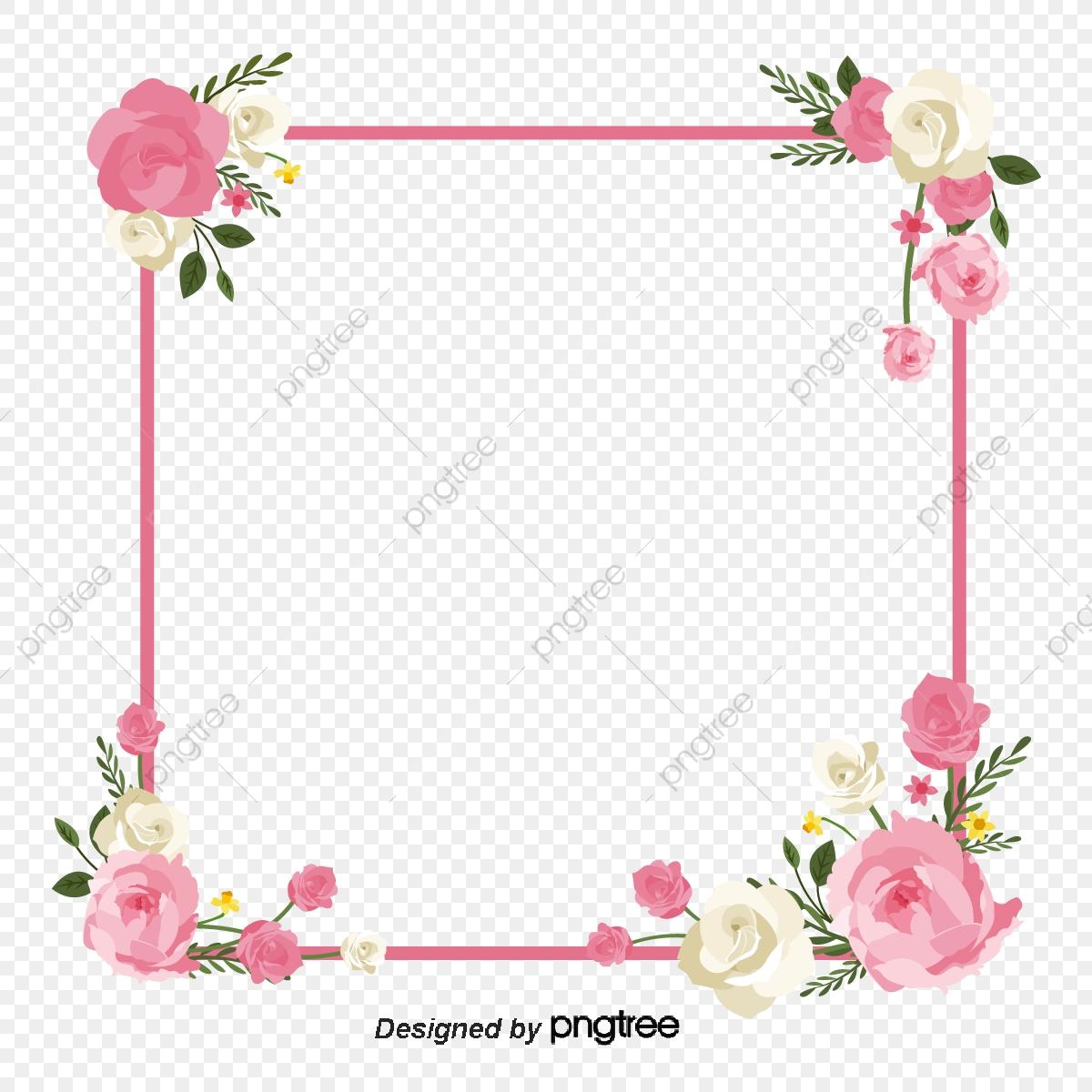 Flower Frame Square Pink Flower Wreath Squares, Flower Frame.