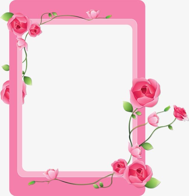 Pink Flower Frame, Flower Clipart, Frame #262779.