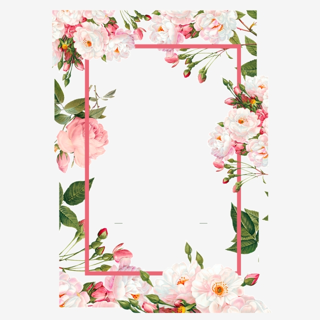 Pink Flower Borders, Color, Flowers, Frame PNG and Vector.