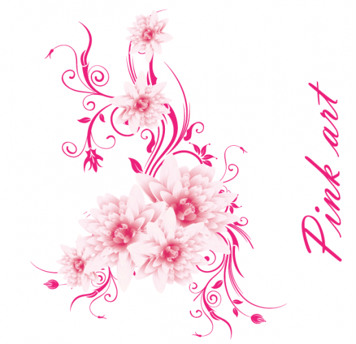 19 Pink Flower Vector Art Images.