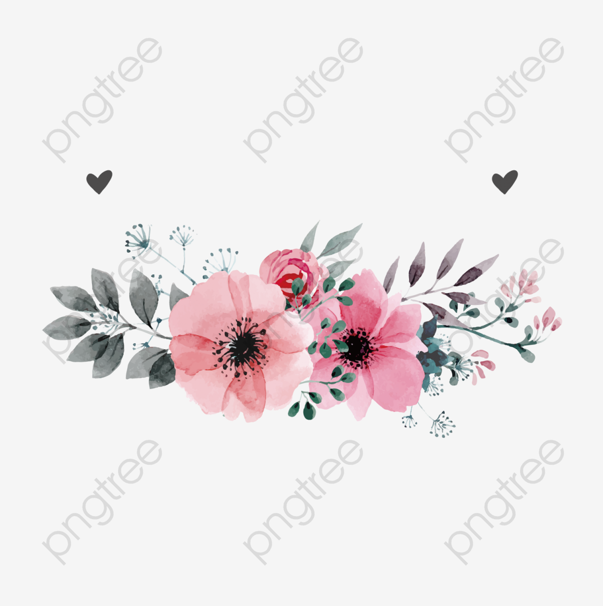 Pink Flowers Vector, Pink Flowers, Flower, Hand Painted.