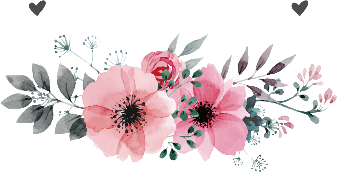 Beautiful Download Pink Flower Wedding Vector Invitation.