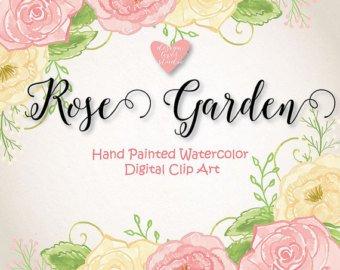 Watercolor Rose Romantic Garden clipart watercolor flower.