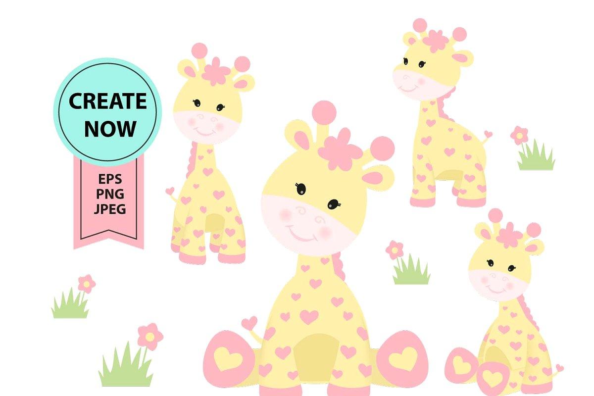 Girl Giraffe clipart yellow pink.