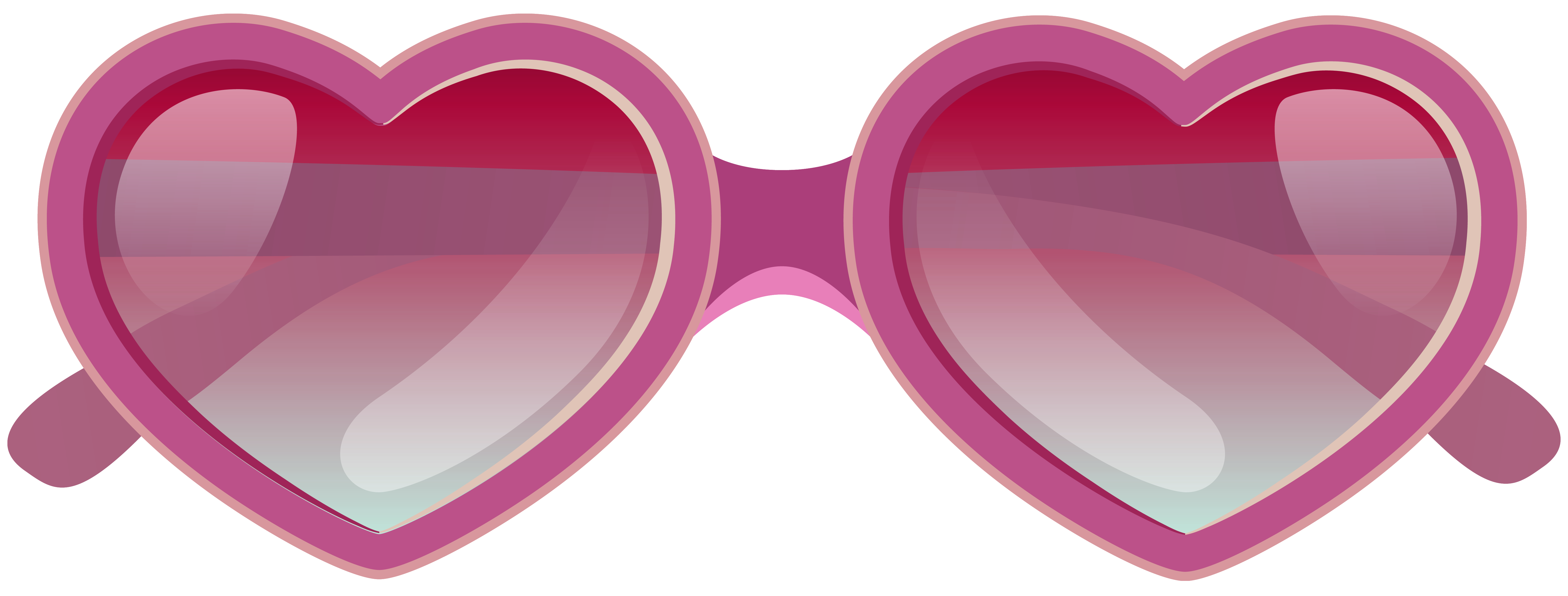 Pink Heart Sunglasses PNG Clipart Image.