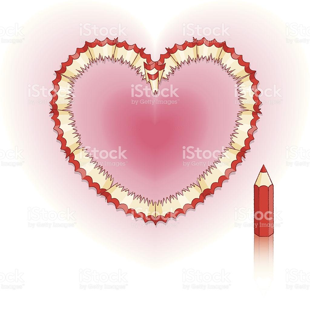 Pencil Shavings In Shape Of Love Heart On Pink Glow stock vector.