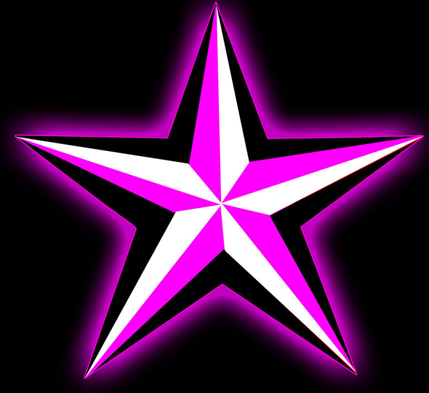 Nautical Star Pink Glow Clipart.