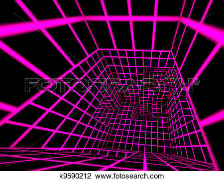 Clip Art of futuristic pink glow on black 3d render tiled.