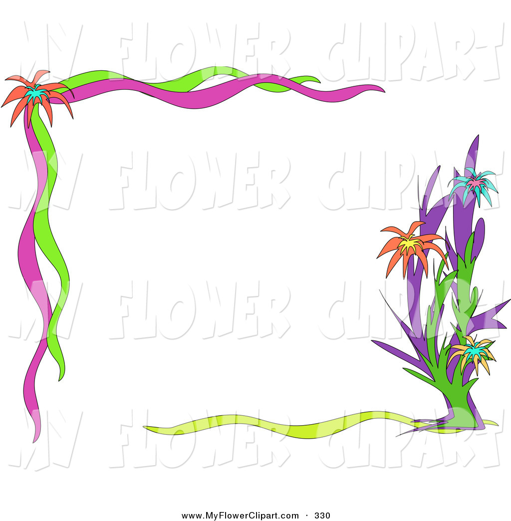 Pink And Green Flower Clip Art.