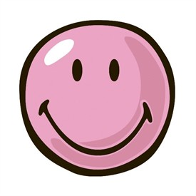 Round Pink Smiley Face Rug by.