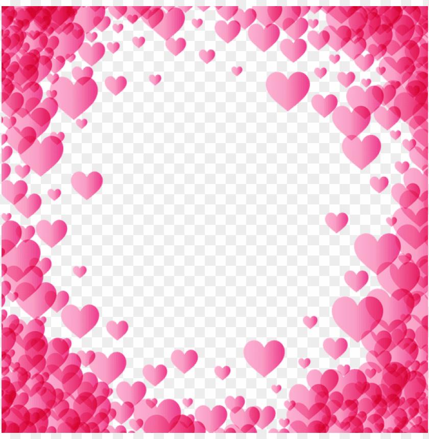 valentine\'s day pink heart border frame transparent.