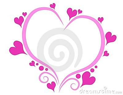 pink heart outline clipart #13