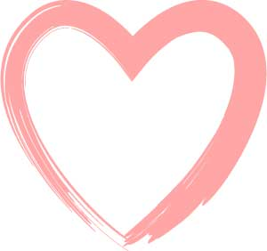 pink heart outline clipart #11