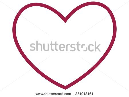 pink heart outline clipart #2