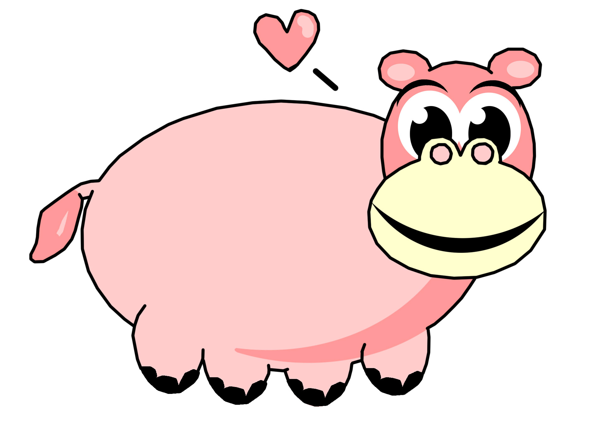 Pink Hippo Clip Art Free Stock Photo.