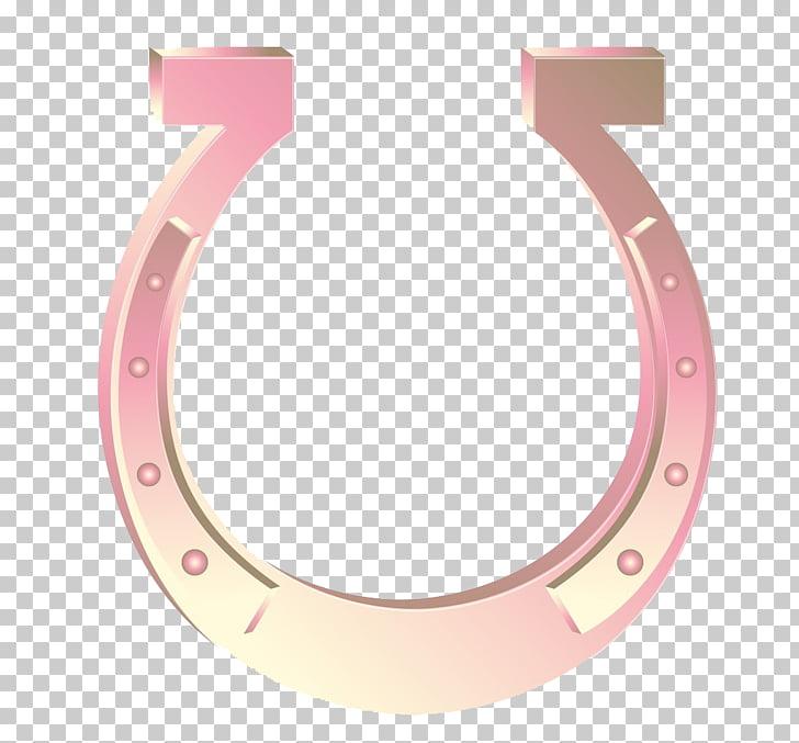 Horseshoe Icon, Textured pink horseshoe, pink horseshoe logo.
