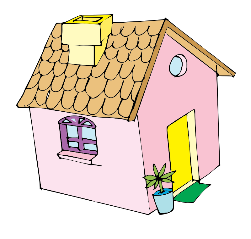 Free Pink House Clip Art.