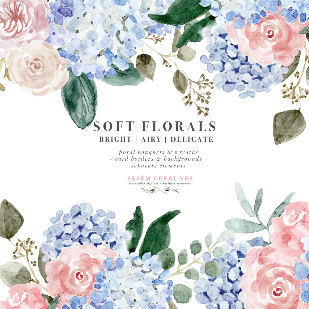 Watercolor Hydrangea Clipart, Soft Watercolor Flower Graphics, Floral  Clipart Illustrations for Wedding Stationery.