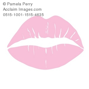 Clip Art Illustration of a Pink Lipstick Kiss.