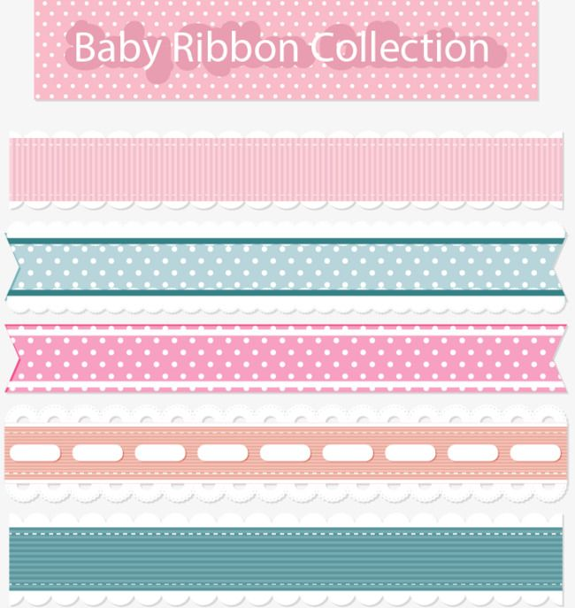 Pink Lace Border, Holiday Ribbons, Romantic Ribbon, Vector.