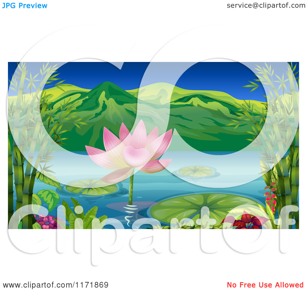 Cartoon of a Pink Lotus and Lily Pads in a Mountainous Lake.