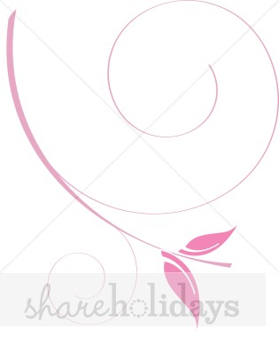 Pink Spiral Leaves Clipart.