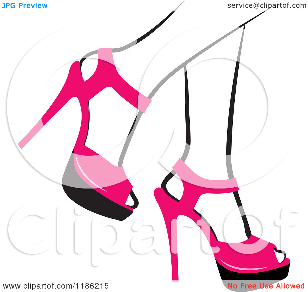 Clipart of a Pair of Black and White Womens Legs in Pink High.