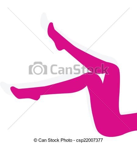 Vectors Illustration of Woman pink stockings on long legs isolated.