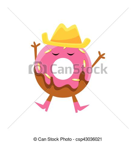 Vector Illustration of Humanized Doughnut With Pink Glazing And.