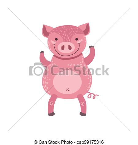 Vector Clip Art of Pink Pig Standing On Two Legs Stylized Cute.