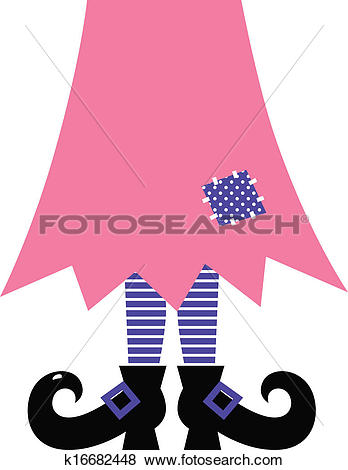 Clip Art of Cute Witch Legs isolated on white.