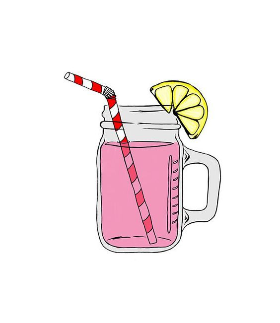Mason Jar Image Pink Lemonade Digital Clipart by 641Digital.