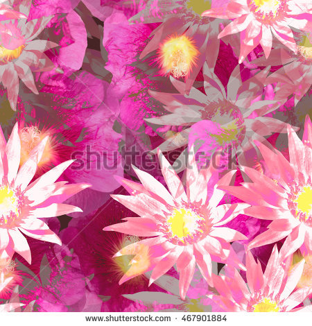 Floral Seamless Pattern Flowers Background. Realistic Photo.