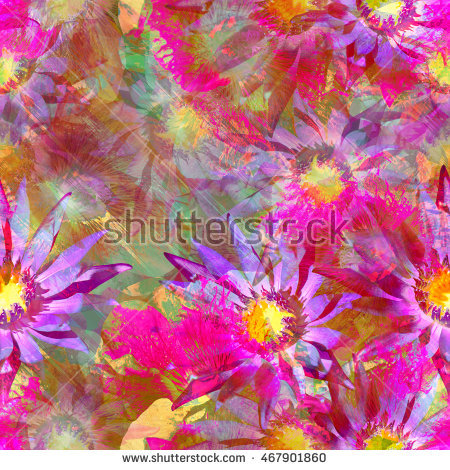 Floral Seamless Pattern Flowers Background Realistic Stock Photo.