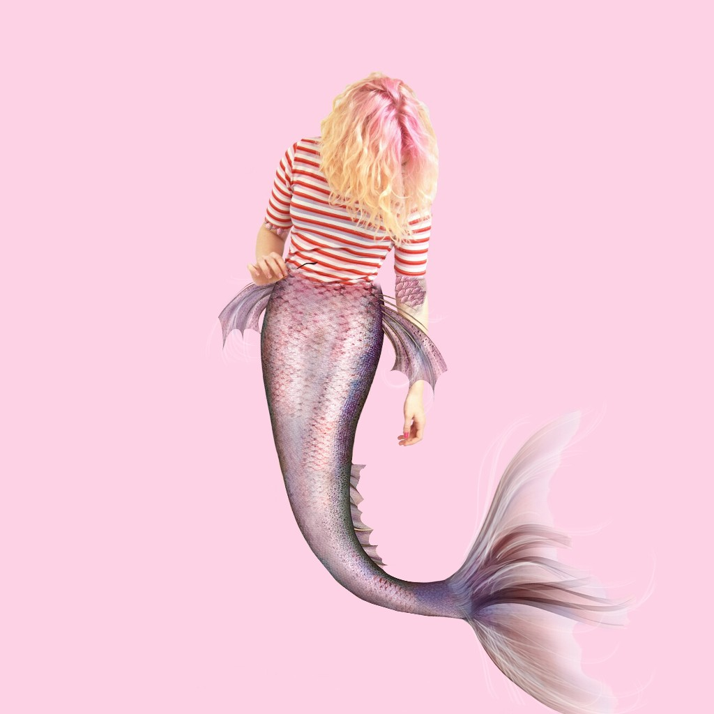 FreeToEdit edited girl Pink mermaid clipart.
