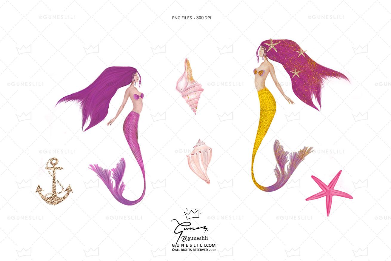 Pink Glam Glitter Mermaids Clipart.