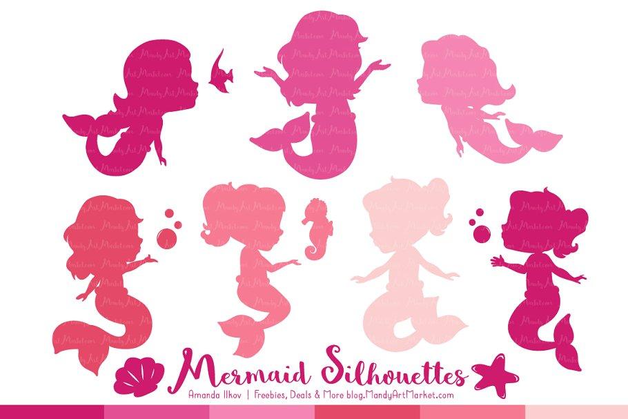 Shades of Pink Mermaid Clipart.