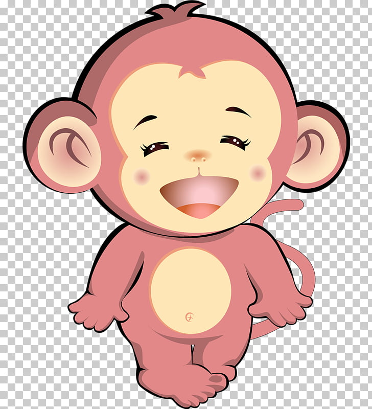 Cartoon Monkey, Pink monkey PNG clipart.